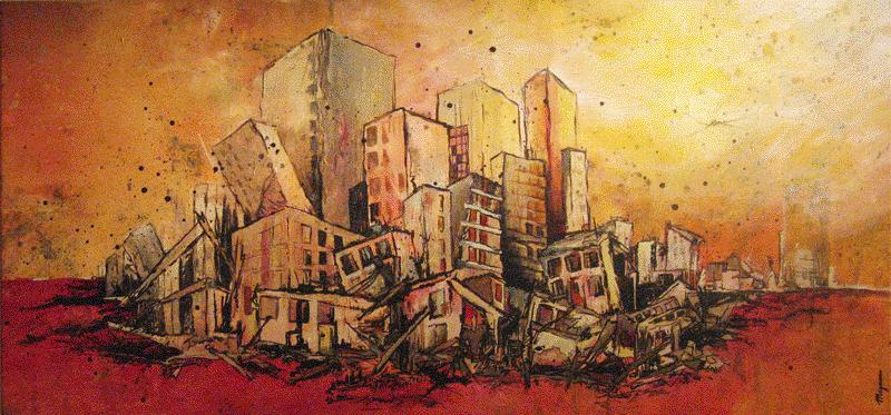 catastrophe, villes en ruines, tache, peintures